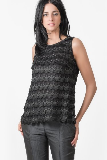 top in pizzo macrame', 22GZ01/TP01 | 9900