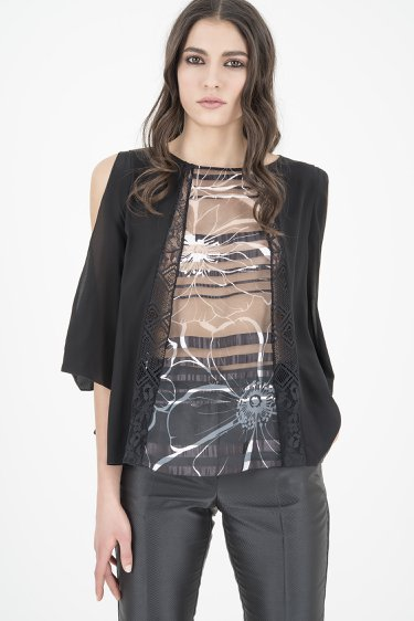 top in organza crepe de chine e pizzo, 22GZ06/C401 | 9900F